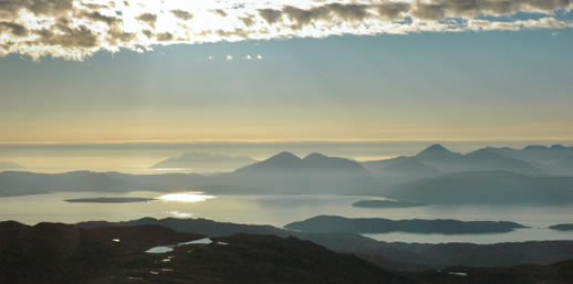 The view towards Skye and Raasay from the top of the Bealach na Ba